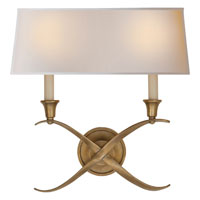 Visual Comfort E.F. Chapman Cross 2 Light Decorative Wall Light in Antique-Burnished Brass CHD1191AB-NP