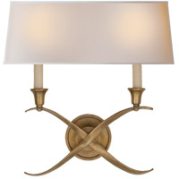 E. F. Chapman Cross Bouillotte 2 Light 15 inch Antique-Burnished Brass Decorative Wall Light