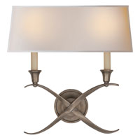Visual Comfort E.F. Chapman Cross 2 Light Decorative Wall Light in Antique Nickel CHD1191AN-NP