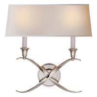 Visual Comfort E.F. Chapman Cross 2 Light Decorative Wall Light in Polished Nickel CHD1191PN-NP