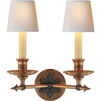 Visual Comfort E.F. Chapman Arrow 2 Light Decorative Wall Light in Bronze with Antique Brass Accents CHD1448BZ/AB