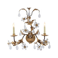 Visual Comfort Chart House Two-Light Crystal Petal Sconce in Rust with Gold CHD1469RG