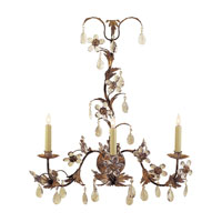 Visual Comfort Chart House Three-Light Crystal Petal Sconce in Rust with Gold CHD1470RG