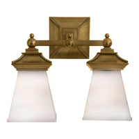 Visual Comfort E.F. Chapman Chinoiserie 2 Light Bath Wall Light in Antique-Burnished Brass CHD1516AB-WG