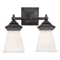 Visual Comfort E.F. Chapman Chinoiserie 2 Light Bath Wall Light in Bronze with Wax CHD1516BZ-WG