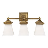 Visual Comfort E.F. Chapman Chinoiserie 3 Light Bath Wall Light in Antique-Burnished Brass CHD1517AB-WG
