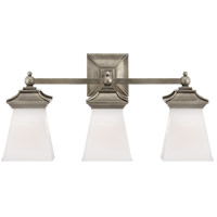 E. F. Chapman Chinoiserie 3 Light 21 inch Antique Nickel Bath Wall Light