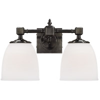 Visual Comfort E.F. Chapman Essex 2 Light Bath Wall Light in Bronze with Frosted Glass Shade CHD1532BZ-FG
