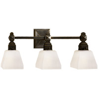 Visual Comfort E.F. Chapman Normandie 3 Light Bath Wall Light in Bronze with Frosted Glass Shade CHD1543BZ-FG