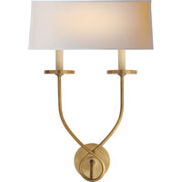 Visual Comfort E.F. Chapman Symmetric Twist 2 Light Decorative Wall Light in Antique-Burnished Brass CHD1612AB-NP
