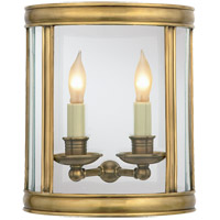 E. F. Chapman Edwardian 2 Light 10 inch Antique-Burnished Brass Wall Lantern in Antique Burnished Brass