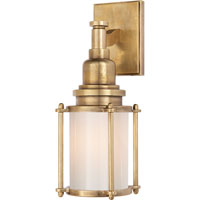 E.F. Chapman Stanway 1 Light 4 inch Antique-Burnished Brass Bath Wall Light in Antique Burnished Brass, White Glass