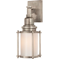 E.F. Chapman Stanway 1 Light 4 inch Antique Nickel Bath Wall Light in White Glass