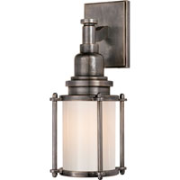 E.F. Chapman Stanway 1 Light 4 inch Bronze Bath Wall Light in White Glass