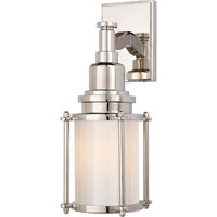 E. F. Chapman Stanway 1 Light 4 inch Polished Nickel Bath Wall Light in White Glass