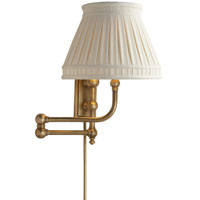 E. F. Chapman Pimlico 25 inch 60 watt Antique-Burnished Brass Swing-Arm Wall Light in Antique Burnished Brass, Linen