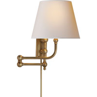 E.F. Chapman Pimlico 25 inch 40 watt Antique-Burnished Brass Swing-Arm Wall Light in Antique Burnished Brass, Natural Paper