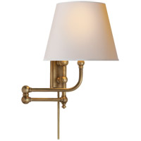 E. F. Chapman Pimlico 25 inch 60 watt Antique-Burnished Brass Swing-Arm Wall Light in Natural Paper