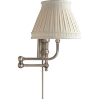 E.F. Chapman Pimlico 25 inch 60 watt Antique Nickel Swing-Arm Wall Light in Linen