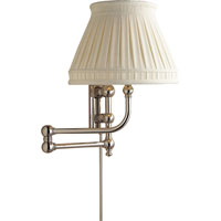 E.F. Chapman Pimlico 25 inch 60 watt Polished Nickel Swing-Arm Wall Light in Linen