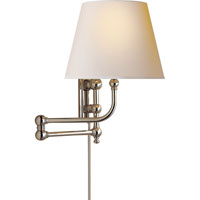 E. F. Chapman Pimlico 25 inch 40 watt Polished Nickel Swing-Arm Wall Light in Natural Paper
