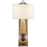 Visual Comfort E.F. Chapman Paladin 1 Light 25-inch Sconce in Crystal with Brass, Tall, Obelisk, Natural Percale Shade CHD2262CG/AB-PL