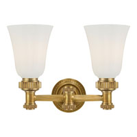 Visual Comfort E.F. Chapman Ruhlmann 2 Light Bath Wall Light in Antique-Burnished Brass CHD2463AB-WG