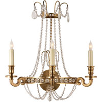 Visual Comfort E.F. Chapman Belvoir 3 Light Decorative Wall Light in Antique-Burnished Brass CHD2547AB