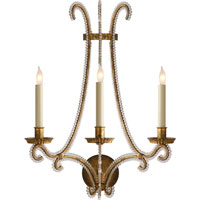 Visual Comfort E.F. Chapman Oslo 3 Light Decorative Wall Light in Gilded Iron with Wax CHD2551GI-CG