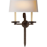 Visual Comfort E.F. Chapman Grafton 2 Light Decorative Wall Light in Aged Iron with Wax CHD2710AI-NP