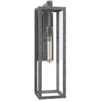 Visual Comfort E.F. Chapman Fresno Framed 22-inch Outdoor Sconce in Weathered Zinc, Long, Clear Glass CHD2935WZ-CG