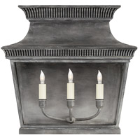 Visual Comfort CHD2948WZ-CG E. F. Chapman Elsinore 3 Light 17 inch Weathered Zinc Outdoor Wall Lantern, Extra Wide