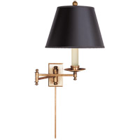 E. F. Chapman Dorchester 22 inch 100 watt Antique-Burnished Brass Swing-Arm Wall Light in Black Paper