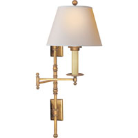E.F. Chapman Dorchester 24 inch 75 watt Antique-Burnished Brass Swing-Arm Wall Light in Antique Burnished Brass, Natural Paper