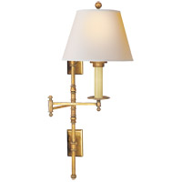 E. F. Chapman Dorchester 24 inch 100 watt Antique-Burnished Brass Swing-Arm Wall Light in Natural Paper