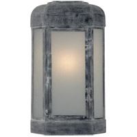 Visual Comfort E.F. Chapman Dublin 17-inch Outdoor Sconce in Weathered Zinc, Small, Faceted, Frosted Glass CHO2004WZ-FG
