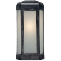 Visual Comfort E.F. Chapman Dublin 20-inch Outdoor Sconce in Aged Iron, Large, Faceted, Frosted Glass CHO2006AI-FG