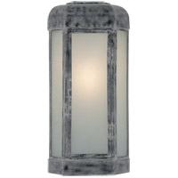 Visual Comfort E.F. Chapman Dublin 20-inch Outdoor Sconce in Weathered Zinc, Large, Faceted, Frosted Glass CHO2006WZ-FG