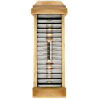 Visual Comfort CHO2018AB-CG E. F. Chapman Dunmore 2 Light 18 inch Antique Burnished Brass Outdoor Sconce, E.F. Chapman, Tall, Louver, Rounded, Clear Ribbed Glass
