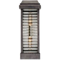 Visual Comfort CHO2018BZ-CG E. F. Chapman Dunmore 2 Light 18 inch Bronze Outdoor Sconce, E.F. Chapman, Tall, Louver, Rounded, Clear Ribbed Glass