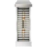 E.F. Chapman Dunmore 2 Light 18 inch Polished Nickel Outdoor Sconce, E.F. Chapman, Tall, Louver, Rounded, Clear Ribbed Glass