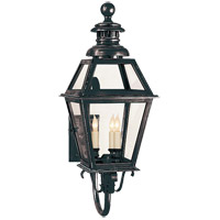 Visual Comfort E.F. Chapman Chelsea 3 Light Outdoor Wall Lantern in Bronze with Wax CHO2111BZ