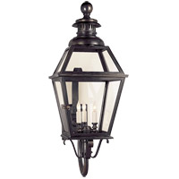 Visual Comfort E.F. Chapman Chelsea 3 Light Outdoor Wall Lantern in Bronze with Wax CHO2112BZ