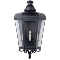 Visual Comfort E.F. Chapman Menzel 3 Light 32-inch Outdoor Wall Lantern in Blackened Copper, Large, 3/4, Clear Glass CHO2116BC-CG