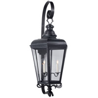 Visual Comfort E.F. Chapman Menzel 3 Light 42-inch Outdoor Wall Lantern in Blackened Copper, Large, Clear Glass CHO2119BC-CG