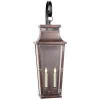 E. F. Chapman Emsworth 2 Light 32 inch Natural Copper Outdoor Wall Lantern, E.F. Chapman, Medium, Tapered Scroll Arm, Clear Glass