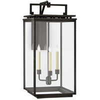 Visual Comfort CHO2613AI-CG Chapman & Myers Cheshire 3 Light 28 inch Aged Iron Outdoor Bracketed Wall Lantern, Large