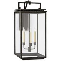 Visual Comfort CHO2613AI-CG Chapman & Myers Cheshire 3 Light 28 inch Aged Iron Outdoor Bracketed Wall Lantern Large