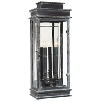 Visual Comfort E.F. Chapman Chart House 2 Light Tall Linear Lantern in Weathered Zinc with Clear Glass Shade CHO2910WZ