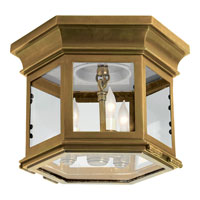Chart House 3 Light 10 inch Antique Brass Outdoor Flush Mount in Clear Glass